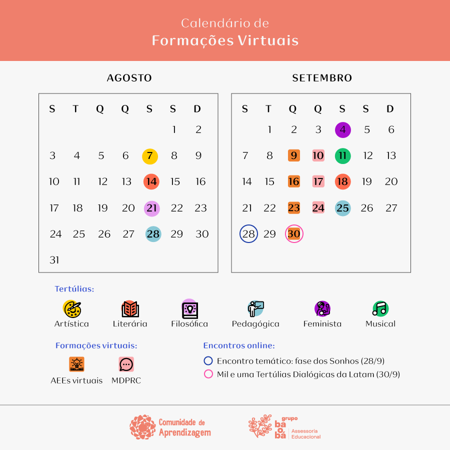 Calendário de formações - segundo semestre 2020